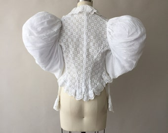 "Antique Victorian white cotton embroidered eyelet & lace blouse with leg-o-mutton sleeves and peplum / 24"" waist / XXS / XS"