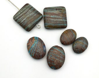 6 aqua stripe jasper square puff stone beads /  12mm to 20mm #PP007
