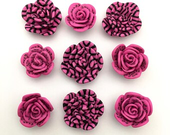 9 Polymer clay handmade flowers,flat back 20mm to 25mm #FL099