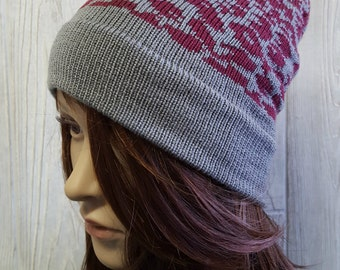 Knit Slouchy Beanie, animl print hat, cheetah beanie, gray and cranberry hat, fair isle hat, knit hat, womens accessories