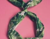 Palm Leaf Wire Headband- Wide Headband Boho, Turban Headband Boho, Yoga Headband, Dolly Bow, Wire Headband, Palm Trees, Baby Floral Headband