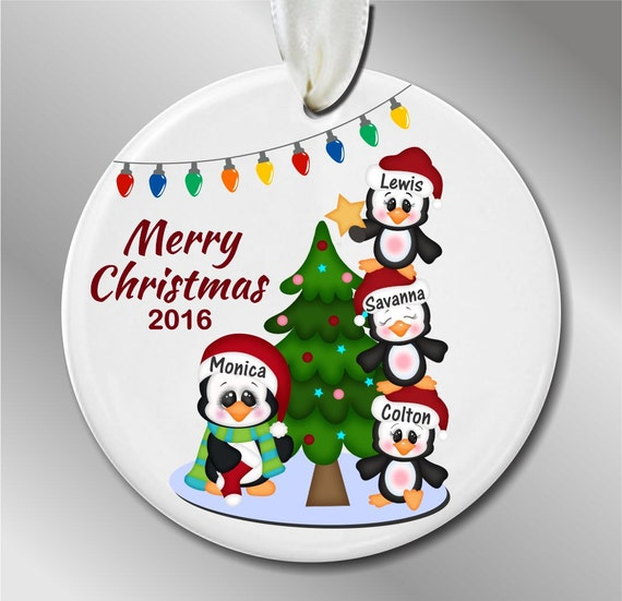 Personalized family of 4 christmas ornament penguins with a for Family of 4 christmas ornament