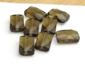 Rectangle Shaped Faceted Smokey Topaz Beads Wholesale Beads Approx. 5x9x12mm 2pcs