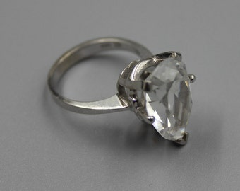 14K Gold Ring Solid 14K White Gold Statement Ring Estate Jewelry from Charmhuntress X101
