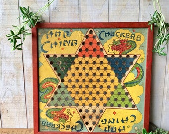 Vintage 1940's J Pressman & Co, New York NY,  Hop Ching Chinese Checkers Game Board