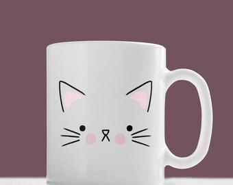 Cat Face Mug, Cute Cat Mug - Hand Illustrated Mug, Kitten Mug, Cats, Kittens, Animal Mug, Pet Mug, Funny Mug, Gift Mug, Gift For Her, Him