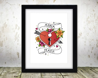Personalised love heart - A4 print unframed