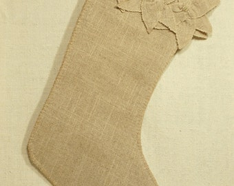 "Poinsetta Christmas Stocking, 18"" Beaded Natural Linen Sock *Ready to ship"