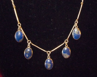 Fabulous Vintage Sterling Necklace with Lapis Lazuli