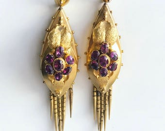 Victorian Gold and Garnet Foxtail Fringe Earrings