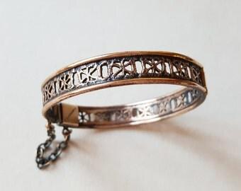 "Vintage Bronze Bangle Bracelet ""Pitsi"" by Pentti Sarpaneva, Finland (F766)"