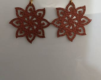 Bronze Faux Leather tribal sun fish hook/dangle/drop earrings