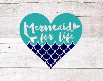 Mermaid for Life Decal | Mermaid love decal | Mermaid Decal | Sea Decal | Lets be mermaids | Mermaid at heart