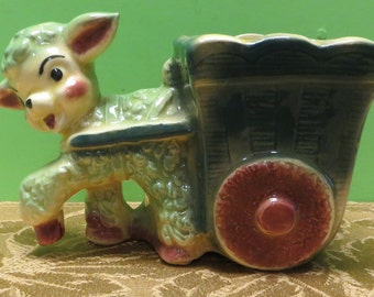 Original 1950's Lamb Pulling Wagon Ceramic Planter - Free Shipping
