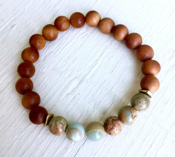 Boho Yoga Bracelet, Wrist Mala, Aromatic Sandalwood, African Opal, Mala Bracelet, Mala Beads, Zen Bracelet, October Birthstone, Yoga Jewelry