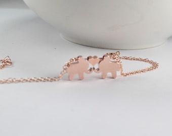 Lucky Elephant Bracelet In Rose Gold, Good Luck Charm, Couple Bracelet, Elephant Jewelry, Lovers jewelry,Lovers braceletLucky Charm Gift