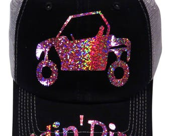 "NEW DESIGN! Pink Iridescent Metallic ""Ridin' Dirty""ATV/Buggy Black/Grey Trucker Cap"