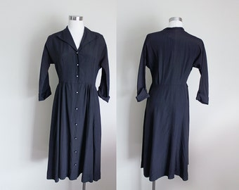 1950s Black Dress | Black Shirtwaist Dress | Little Black Dress | New Look Dress | Medium