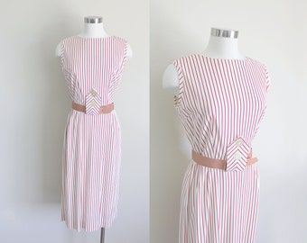 1950s Striped Dress | Sheath Dress | Striped Sundress | Small