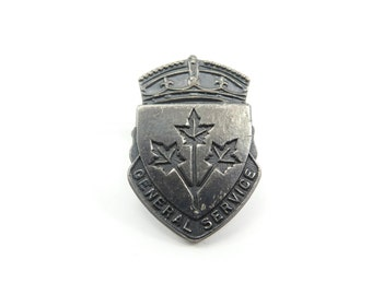 Vintage General Service Badge, Sterling Silver, WWII, Canadian Military, Militaria