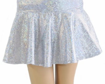 Silver on White Shattered Glass Holographic Metallic Circle Cut Mini Skirt Rave Festival Clubwear EDM 154187