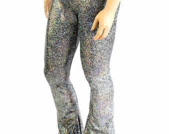 Mens Silver on Black Shattered Glass Holographic Bootcut Spandex Pants Rockstar Rave Festival Yoga Leggings Disco -154265