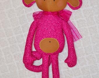 Pink Monkey Fabric Toy Jungle Animal monkey nursery toy Monkey lovers gift Monkey softie Monkey plush