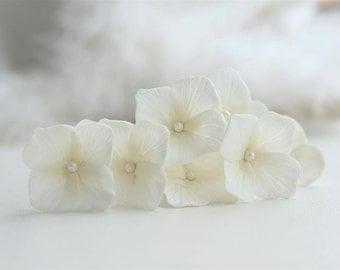 Ivory Hydrangea Hair pins Ivory Wedding hair pins Ivory Bridal hair pins Bridal flower pins Wedding flower pins Flower hair pins