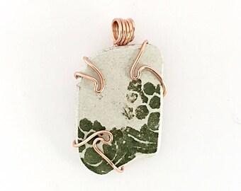 Scottish Sea Pottery Pendant, Copper Necklace, Genuine Beach Pottery Jewelry