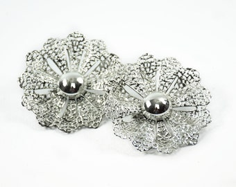 Vintage Heart Earrings- Vintage Clip On Earrings- Silver Tone Earrings- Sarah Coventry Earrings- Gift For Her- Stocking Stuffer- Mom Gift