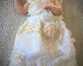 Baptism Gown - GLORIA - Christening Gown - Vintage Look Shabby Chic Linens and Lace - Vintage Ruffles Baby Gown - Blessing Dress