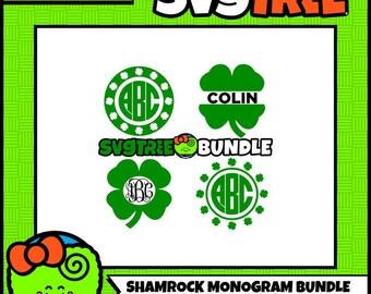 Shamrock Monogram SVG Shamrock SVG St Patricks Day SVG shamrock svg svg bundle monogram svg files for cricut dxf files