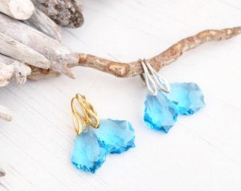 Light Blue Aquamarine Swarovski Baroque Earring-Swarovski Jewelry-24k Gold Plated Sterling Silver Crystal Earring-Dangle Bridesmaids Earring