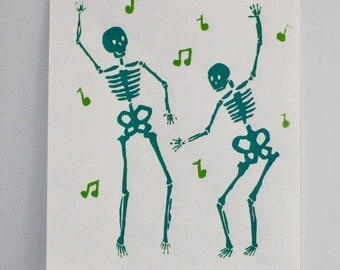 Dancing Skeletons (turquoise and green)