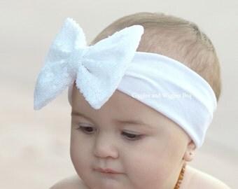 Baby headbands, white bow headband, white baby headwrap, sparkle bow headband, baby head wrap, baby bows, sequin bow headband