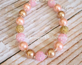 Pink and gold baby necklace, baby bracelet, baby girl necklace, chunky necklace, girl necklace, infant girl necklace, 1st birthday
