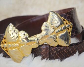 SALE! Judith Leiber Belt, Brown Snakeskin and Judith Leiber Gold Moth Butterfly Buckle, Vintage, Gold Statement Belt