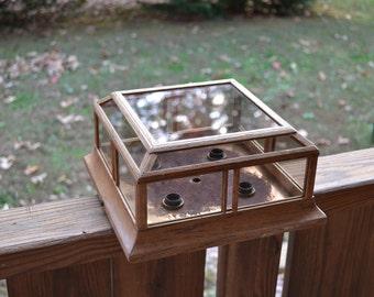 Vintage Ceiling Light Flush Mount Fixture Oak Tinted Glass Retro Home Decor Panchosporch