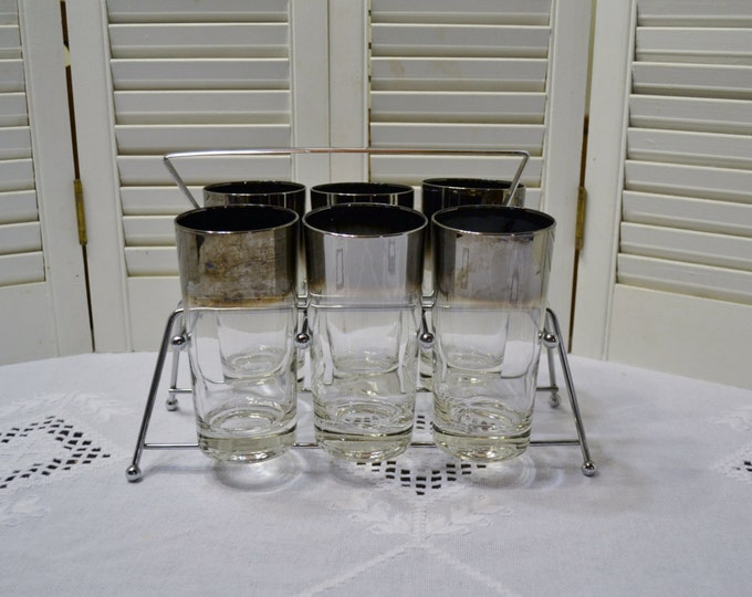 Retro Ombre Fade Glass Tumbler Set with Carrier Vintage Glassware Barware PanchosPorch