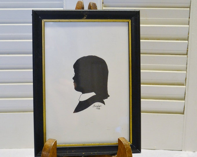 Vintage Framed Silhouette Child Girl Black and White Nursery Bedroom Wall Decor PanchosPorch