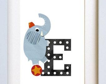 E is for Elephant - letter art print