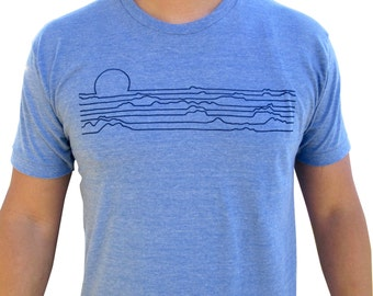 Mens Horizon shirt. Cool mens T-shirt. Sunset. Vintage design.