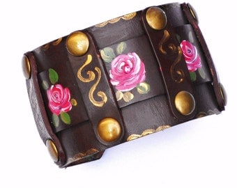 Hand Painted Rose Leather Cuff Bracelet Romantic Boho Chic Jewelry FREE SHIPPING