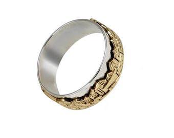 Sterling Silver Gold Band Old City Jerusalem Panoramic Skyline Judaica Ring Handmade Jewelry