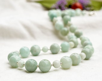 Natural amazonite necklace with 925 sterling silver  *Free worldwide shipping*