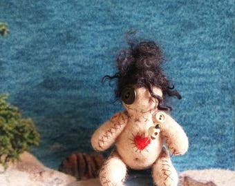 Voodoo Doll, Needle Felted VooDoo Doll, Goth Doll, Monster Doll, Handmade OOAK Doll, Ugly Doll, Pin Cushion, Unique Gift