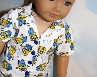 18 Inch Doll (like American Girl) Cartoon Minions Cotton Boxer Short Pajamas