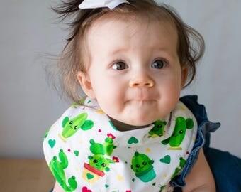 Cactus bib, baby bib, bandana bib, scarf bib, cactus baby bib, baby girl bib, drool bib, baby gift, baby shower gift, cactus bandana bib
