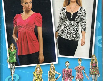 Size 4-12 Misses' Top Sewing Pattern - Surplice Bodice Tunic Top Pattern - Empire Waist Tunic Top Pattern  - Simplicity 2733