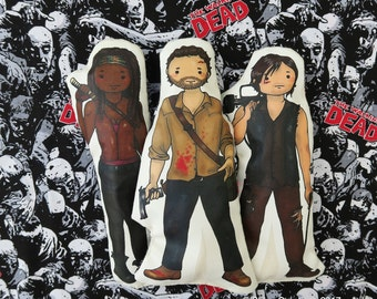 Set of 3- The Walking Dead inspired cartoon, cuddly, fabric, dolls, plushie, plush, collectible, TV show, comic book, characters